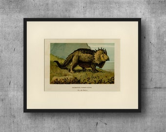 """Triceratops Dinosaur Art Print - Wall Art, Christmas Gift, Home Decor - C.1900 Antique Lithograph - Ready to Frame 11x14"""""""