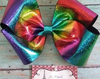 Rainbow Holographic hair big  bow