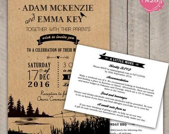 Rustic Wedding Invitation Set - Invite - RSVP - Info Card - Lake Theme - Outdoor Wedding - Woodland - Custom - Printable - DIY