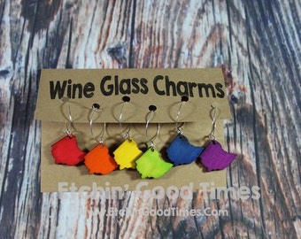 Wine Charms - Wooden Ohio Shaped Wine Charms Stained Bright Colors set of 6