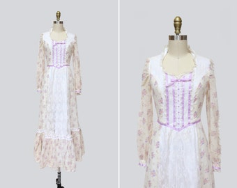1970s Reta Dress { XS } Vintage 70s Lace Apron Maxi Dress >> Boho Wedding Dress