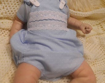 Reborn/Newborn Baby bubble romper in  blue spot/teddy reborn dolls clothes baby home coming silicone reborn Valentines day Photo prop