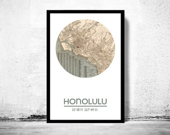 HONOLULU- city poster - city map poster print