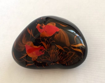 Asian Koi Paperweight, Fantail Orange Goldfish w/ Bronze/Copper Sea Grasses on Black Ground, Lacquered, Silky Smooth Shiny, Painted,Metallic