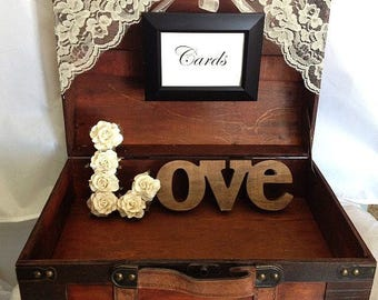 Rustic Card Box with Cards Sign/Guest Table Decor for Rustic, Barn and Country Weddings and Engagement Parties - Suitcase Card Box