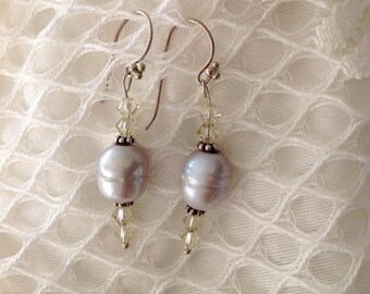 Gray fresh water pearls, sterling silver earrings,pearls, gray pearls, handmade, for her