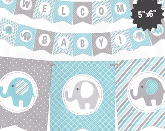 Blue Elephant Baby Shower Banner - Boy Baby Banner - Blue and Gray Baby Shower Decorations - Baby Boy Decor - Printable Garland
