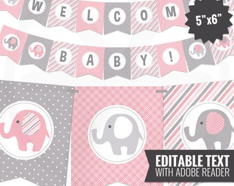 Pink Elephant Baby Shower Banner - Girl Baby Banner - Pink and Gray Baby Shower Decorations - Baby Girl Decor - Editable - Printable Garland