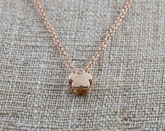 14k Rose Gold Small Flower Clover Diamond Pendent Slider