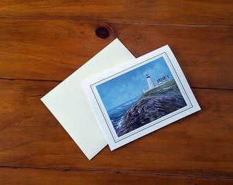 Artist Note Cards - Seascape of Pemaquid Lighthouse Bristol Maine