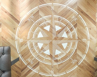 Rose Of Wind Stencil - Compass Stencil - Circular Stencil - Large Wall and Floor Stencil