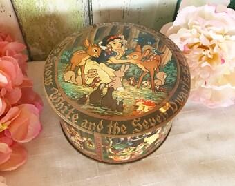 Snow White Fairy Tale tin Box, Walt Disney, round canister, vanity, trinket, storage, jewelry, nursery decor decorative