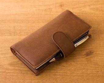 Caramel brown Hobonichi Weeks cover, Notebook wallet, Travelers notebook, Fauxdori cover, Vegan Midori, Planner cover, Hobonichi planner