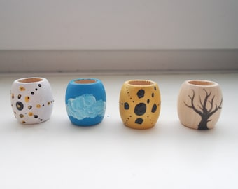 Hand Painted Wooden Dreadlock Beads