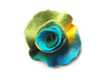 Felted flower brooch  felt flower brooch flower felt green turquoise yellow wool floral brooch merino wool brooch spring boho gift OOAK