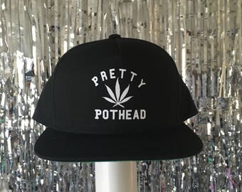 Pretty Pothead Black SnapBack Hat by Fashionisgreat