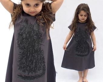 Girls  Dress Grey dress Cat Print Silkscreen  Girls Clothing