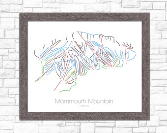Mammoth Mountain Map California  CA Ski Snowboard Trail Map Art -- Print, Poster --- Frame, Gift, Present --- Resort, Mountain, Snow, Winter