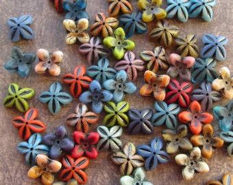 16x6mm Mixed Colour 4 Petal Czech Glass Flower Bell Beads Caps Black Inlay Rustic