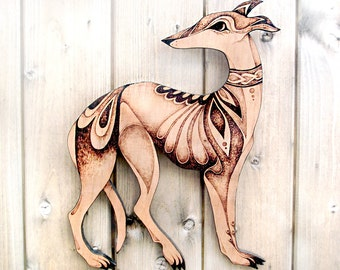 Whippet Wall Hanging, Pyrography wood wallhanging, Wood burning, whippet art, whippet decor, animal,greyhound art, dog gift, whippet gift