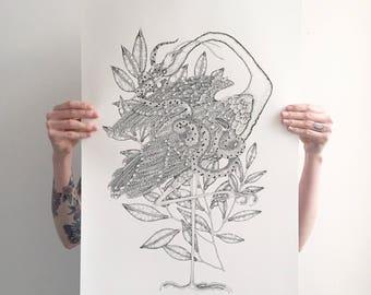 Heron & Grass Snake. Archival print. A2.