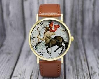 Vintage Sagittarius Constellation Watch | Leather Watch | Ladies Watch | Men's Watch | Birthday Gift Ideas  | Fashion Accessory | Zodiac