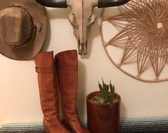 Vintage Coach Saddle Brown Boho Riding Boots