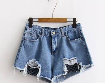 Denim Fishnet Layered Women's Shorts