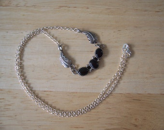 Vintage Upcycled Black Onyx Southwestern Style Necklace in Sterling Silver