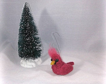 Little Felted Cardinal Christmas Ornament