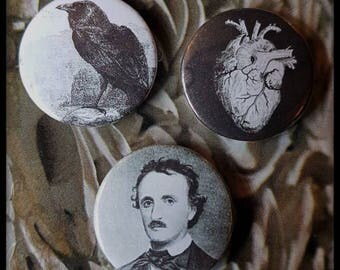 Nevermore! a set of 3 25mm button badges Poe, his Raven and a Telltale Heart.