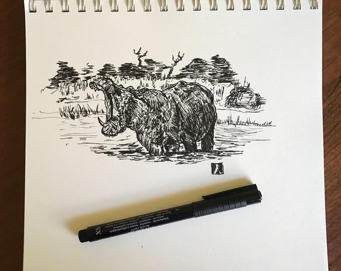 Original Drawing of Hippo With Gaping Maw