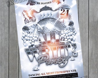 All White Party Invitation - All White Party Flyer - All White Party - All White Birthday Invitation