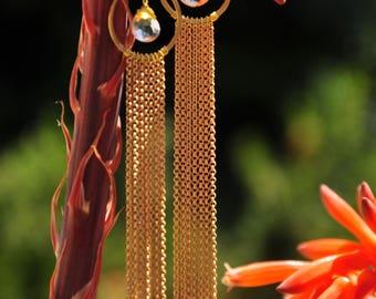 Golden Quartz Fringe Earrings