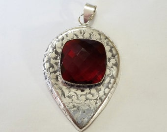 Pendant, Garnet Quartz, Sterling Silver Overlay, Necklace, Focal, Red, Bali, Jewelry, Beading, Supply, Supplies