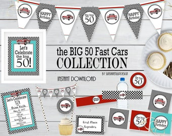 Printable 50th Birthday Party Collection, Printable 50th Fast Cars Party Decorations, Instant Download Party by SUNSHINETULIPDESIGN