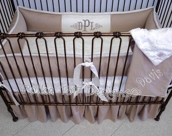 Taupe & Cream Gender Neutral/Unisex  Baby Bedding: Davis