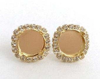 12mm Gold Stud Earrings Base Settings Fits 12mm 1122 Clear Crystal Rhinestones 1 Pair