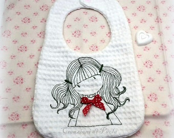 Terry bib embroidered with baby girl honeycomb