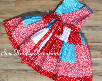 Girl's Patchwork Dress - Red, White, Blue - 4th of July Inspired