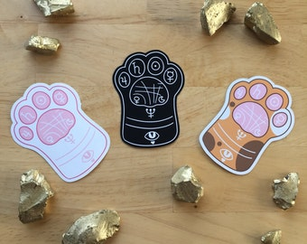 Kitty Paw Reading Sticker - ( Cute kawaii palm reading fate occult moon bat crystal cat cats kitties stickers )