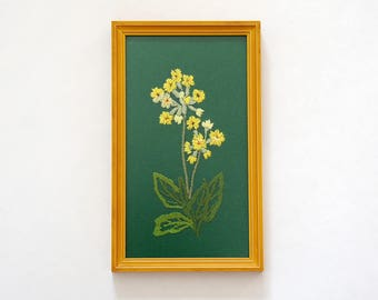 Vintage Needlepoint Embroidery Wall Art, Yellow Wild Flowers, Framed ready to hang
