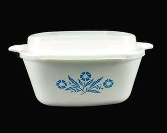 CorningWare Cornflower Blue Petite Dish with Plastic Cover Vintage 22 Ounce Casserole P 43 B