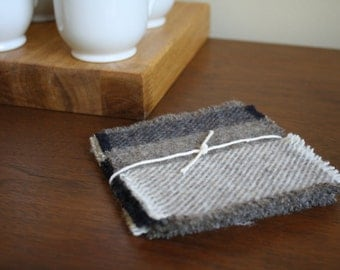 Cream + Tan Pendleton Wool Coasters - Set of 4