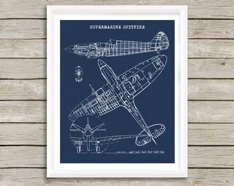 """Spitfire Blueprint Art, Supermarine Spitfire, Blueprint Decor, Instant Download, Spitfire Blue print, Aviation Art, Blueprint, 8x10"""", 11x14"""""""