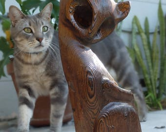 Mid Century Witco Cat Tiki Wood Statue
