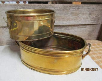 2 Vintage Brass Oval Shaped Planters with Handles from India