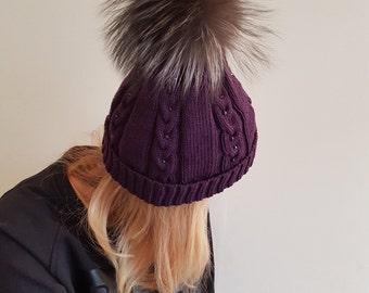 Merino wool, soft, handmade Beanie, Svarovski Crystal beanie, pom Beanie, winter hat, purple hat, knitted, real fur pom pom