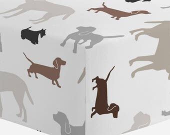 Boy Baby Bedding / Girl Baby Bedding / Neutral Baby Bedding : Brown and Gray Dogs Crib Sheet by Carousel Designs