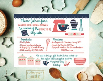 Kitchen Bridal Shower Invitation, Pampered Chef Bridal Shower Invite, Digital Printable